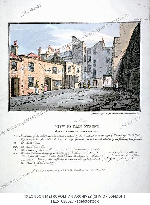 Cato Street, Marylebone, London, 1820. View of Cato Street with a description of the capture of the conspirators who were plotting to assassinate the British...