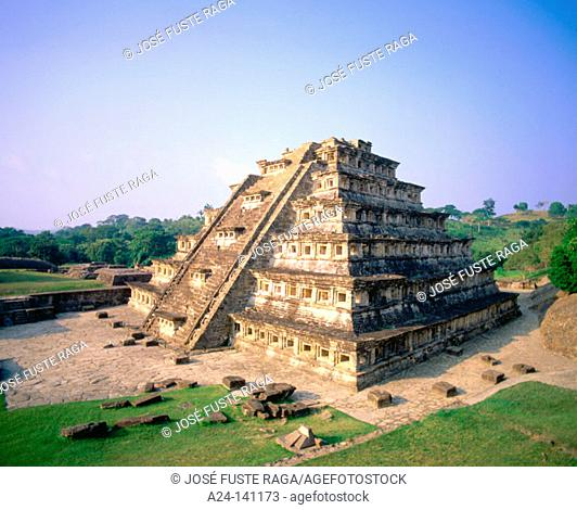 Niches Pyramid at the old city of El Tajin. Veracruz state. Mexico