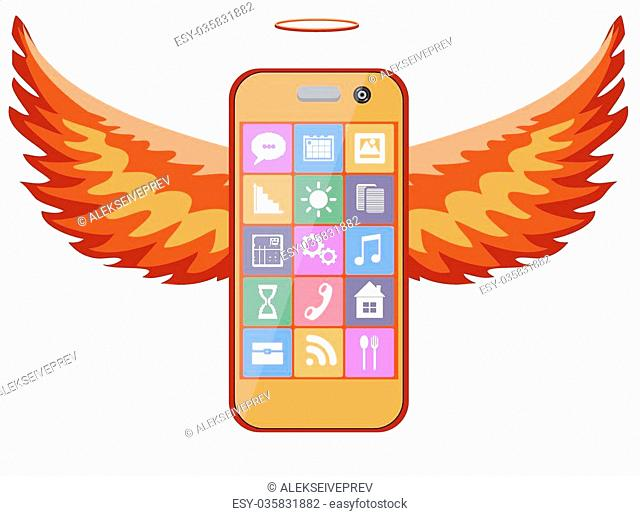 Mobile bright orange phone with wings on a white background, with icons on the screen, vector illustration