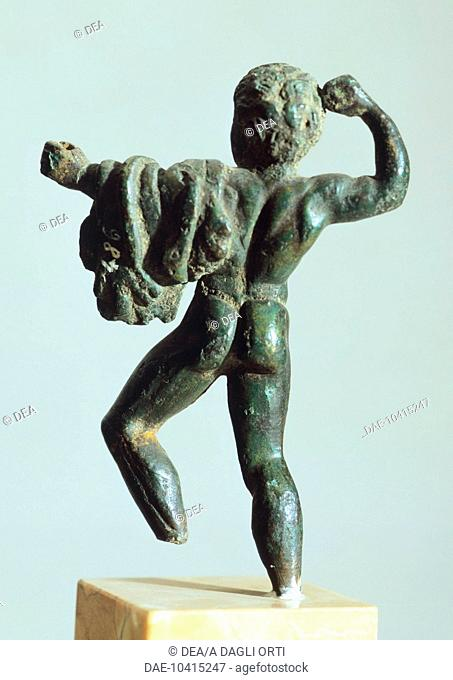 Bronze depicting Hercules in battle, rear view. Etruscan Civilization, 425-400 BC.  Verona, Museo Archeologico Del Teatro Romano (Archaeological Museum)