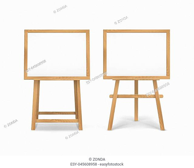 Set of Wooden Brown Sienna Art Boards Easels with Mock Up Empty Blank Horizontal Canvases in Frame Isolated on Background