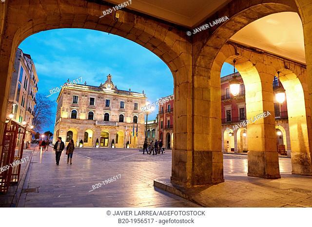 Main Square and Town Hall. Plaza Mayor, Gijón, Asturias, Spain