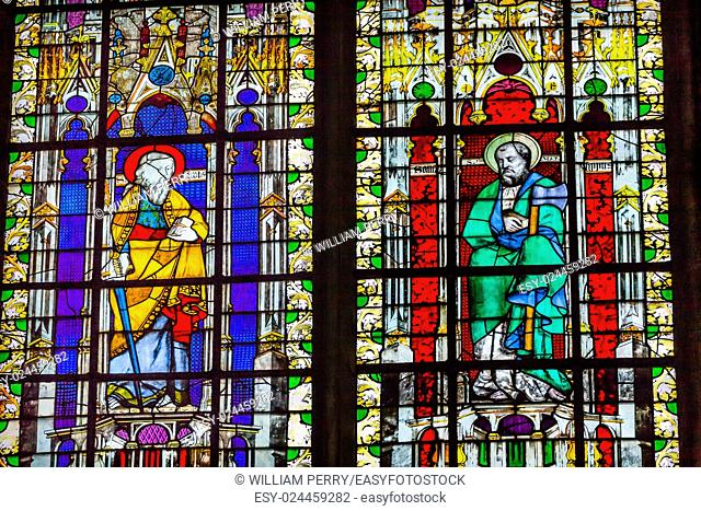 Saint Paul with Sword Saint Boniface with Axe Stained Glass Saint Severin Church Paris France. Saint Severin one of oldest churches Paris located in the Latin...