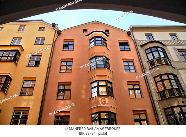 Facades, Friedrichstreet, Innsbruck, Tirol, Austria