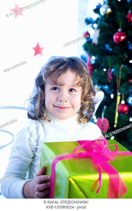 girl with christmas box