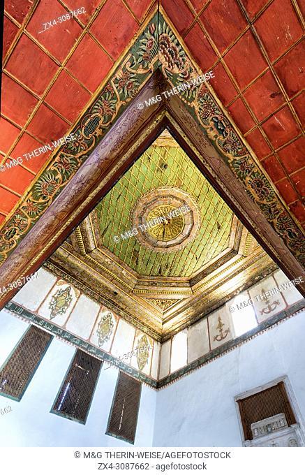 Helveti Teke, Bektashi Sufi shrine, Interior, Wooden decorated ceiling, Berat, Albania