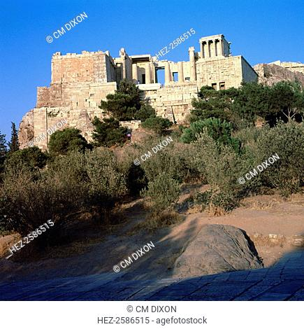 View of the Acropolis of Athens from the southwest. Visible are the Propylaea and the temple of Athena Nike, 5th century BC