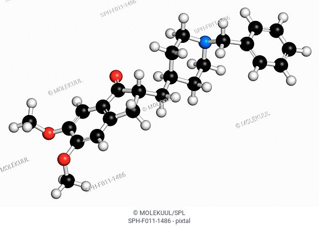 Donepezil Alzheimer's disease drug, chemical structure. Atoms are represented as spheres with conventional color coding: hydrogen (white), carbon (black)