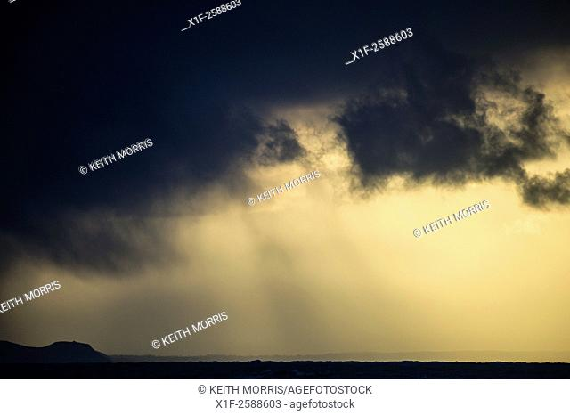 Bad weather: A stormy sky over Cardigan Bay, west wales UK