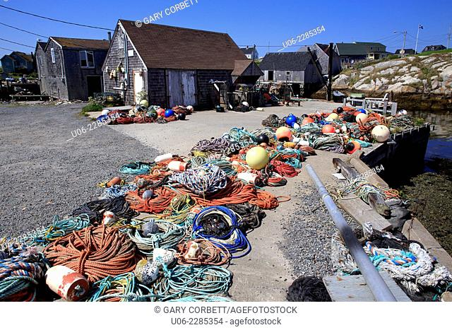 Fishing nets and ropes at Peggy's Cove, Nova Scotia, Canada