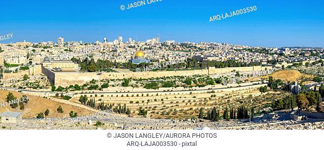 View of Jerusalem Old City with Dome of the Rock, Jerusalem, Israel