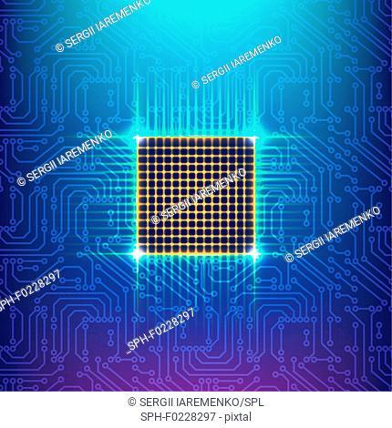 Computer chip, illustration
