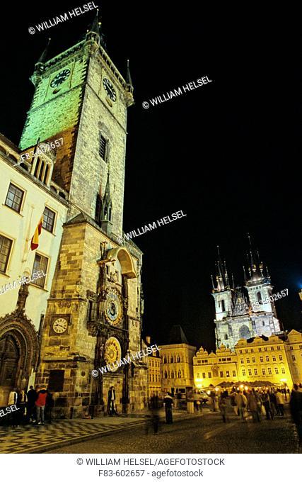 Old Town Hall, Astronomical Clock, Tyn Church. Old Town. Prague. Bohemia. Czech Republic