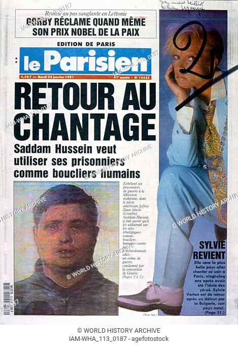 headline in 'le Parisien' a French newspaper, 2nnd January 1991, concerning captured US pilot during the Gulf War (2 August 1990 - 28 February 1991)