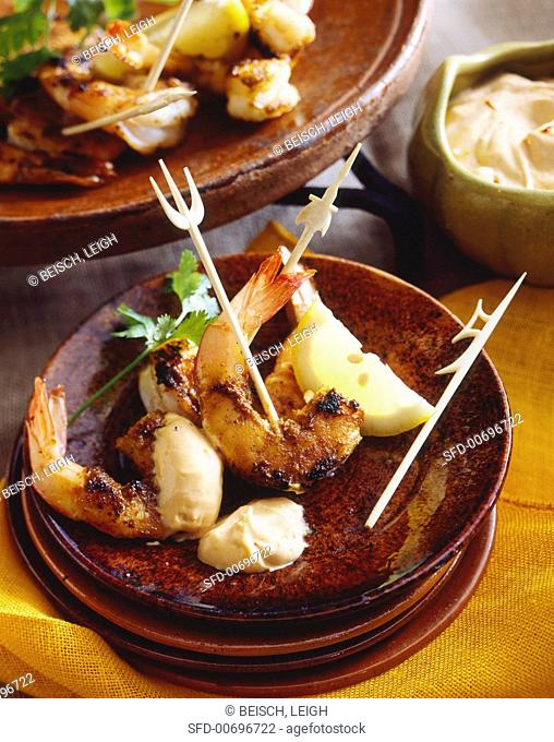 Grilled shrimps with spicy mayonnaise