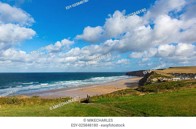 Watergate Bay Cornwall England UK Cornish north coast between Newquay and Padstow on a sunny blue sky day popular surfing beach