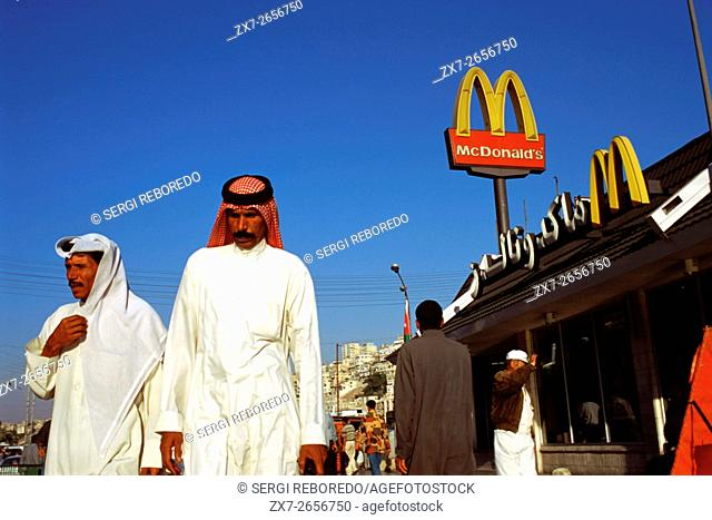 Fast Food chain, branch restaurant of Mc Donalds in Amman, Jordan. American capitalism against classical Muslim society