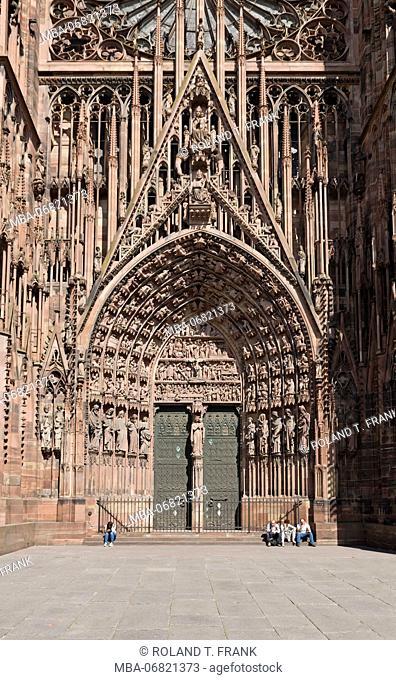 France, Alsace, Strasbourg, portal of Strasbourg Münster