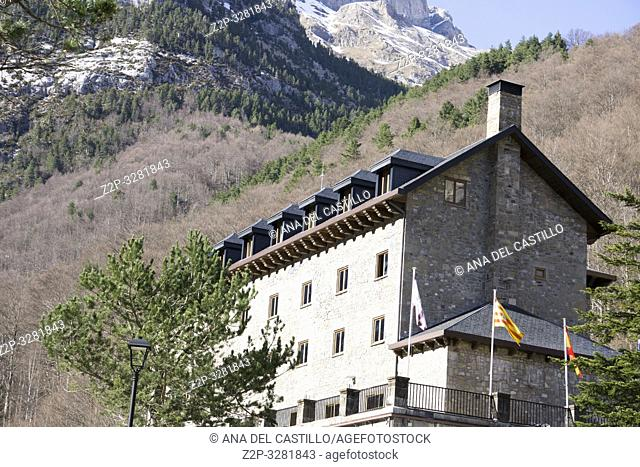 Bielsa parador state run hotel in Pineta valley with glaciar cirque in Espierba Huesca Aragon Spain