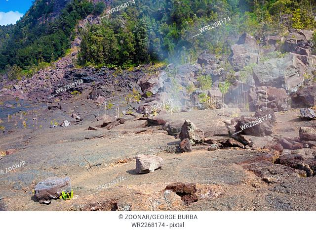 Barren bottom of Kilauea Crater with sulfur gas vents n Hawaii Volcanoes National Park
