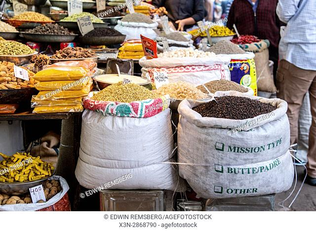 Spices on display at the market on Khari Baoli Road in New Delhi, India, Asia's largest wholesale spice market