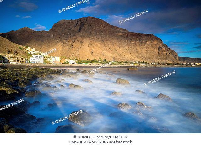 Spain, Canary Islands, La Gomera island declared a Biosphere Reserve by UNESCO, Valle Gran Rey is the most popular searesort of the island, La Playa area