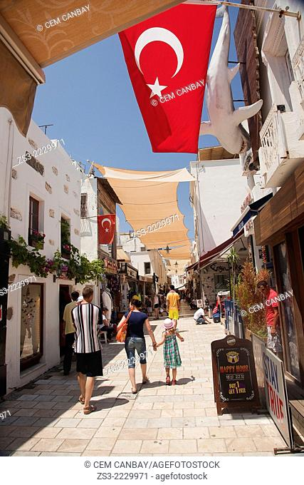 Tourists walking in the alleys of town center, Bodrum, Mugla, Aegean Sea, Turkish Riviera, Turkey, Europe