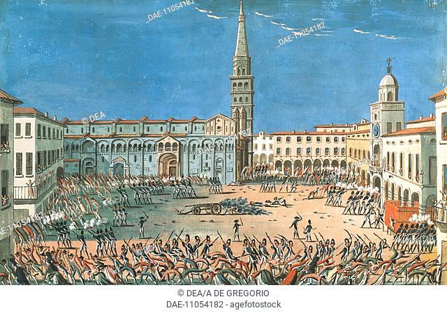 Revolt, Piazza Maggiore, Modena, 1799. Napoleonic era, Italy, 18th century.  Modena, Museo Civico Del Risorgimento (History Museum) Palazzo Dei Musei