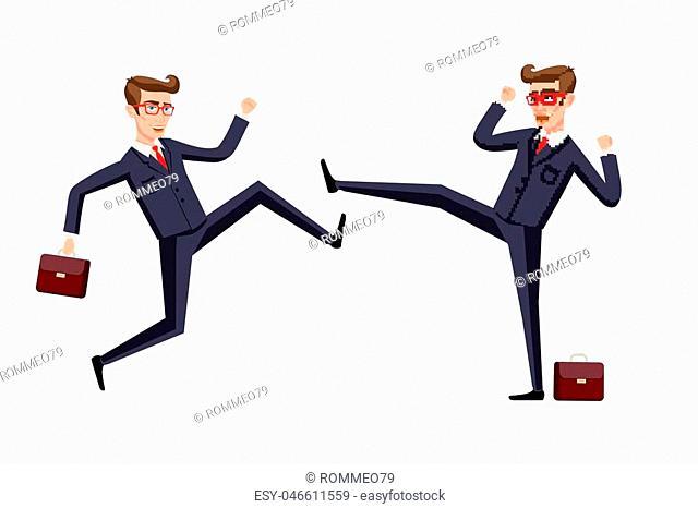 Business fight club. karate, businesspeople and violence, battler strength. Vector illustration art