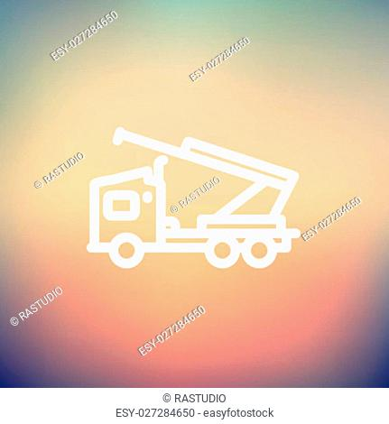 Towing truck icon thin line for web and mobile, modern minimalistic flat design. Vector white icon on gradient mesh background
