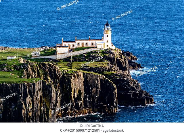 Neist Point, one of the most famous lighthouses in Scotland, Great Britain, July 8, 2015. Neist Point is the most westerly point on the Isle of Skye