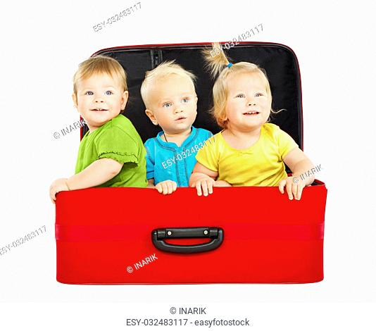 Children in Travel Case, Three Kids Travelers inside Suitcase, Toddlers Playing Passengers