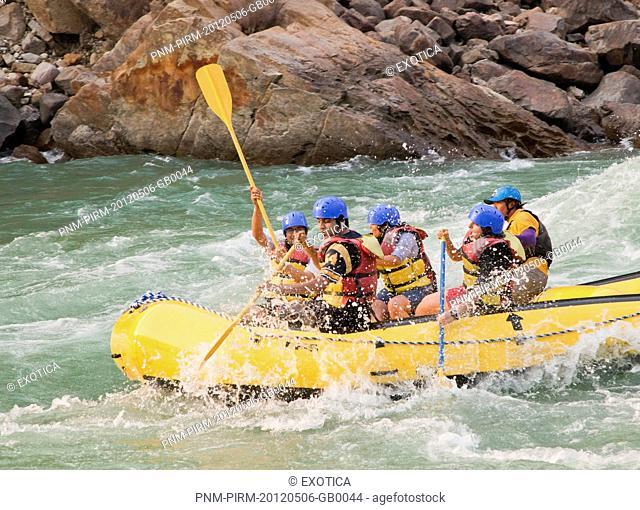 Tourists enjoying whitewater rafting in River Ganges, Rishikesh, Dehradun District, Uttarakhand, India