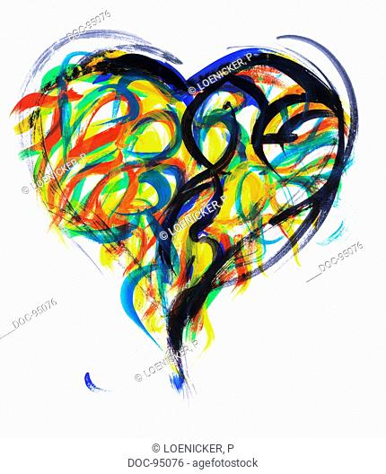 illustration - symbol - a heart with colorful clutter