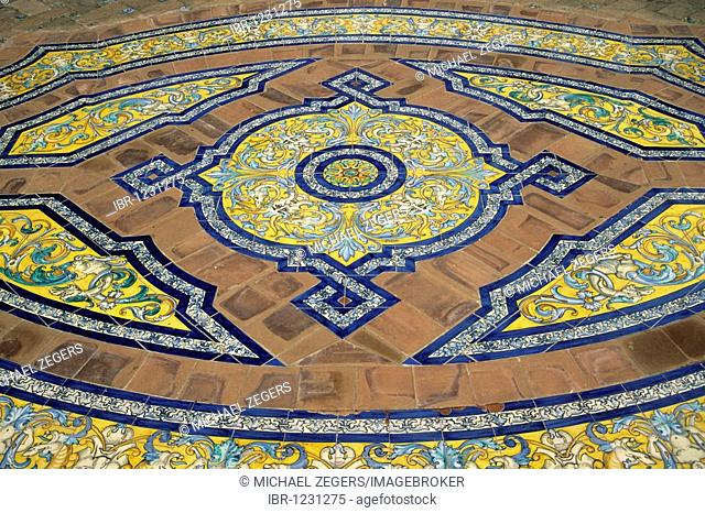 Painted tile flooring in a royal residence, Real Alcazar Palace, Reales Alcazares, Seville, Andalusia, Andalucia, Spain, Europe