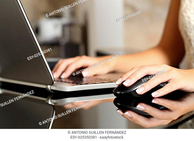 Close up of a woman hands working with a laptop and a mouse in a home interior or an office