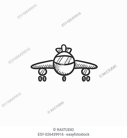 Airplane vector sketch icon isolated on background. Hand drawn Airplane icon. Airplane sketch icon for infographic, website or app