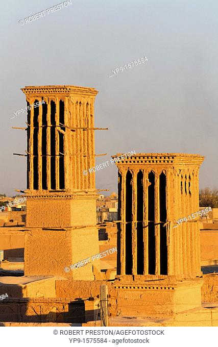 Traditional wind towers in the city of Yazd, Iran