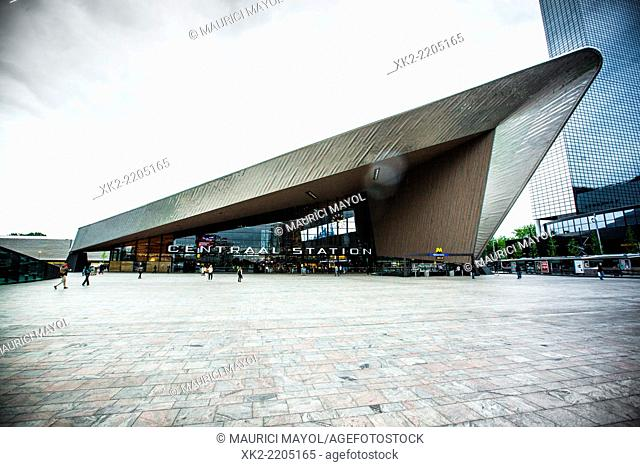 Front view of the entrance of Centraal Station in Rotterdam, Holland