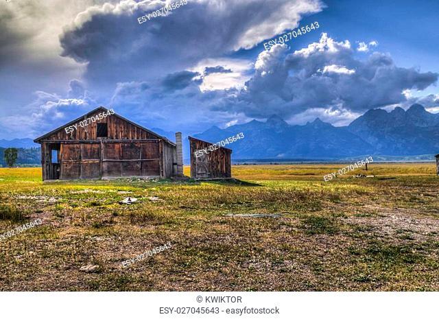 Mormon Row, with Teton Range in background, sunrise, Grand Teton National Park, Jackson Hole, Wyoming