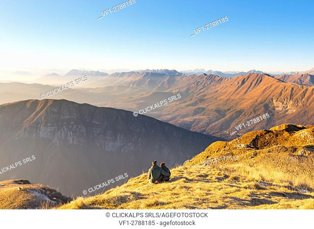 Europe, Italy, Friuli Venezia Giulia, Udine district, Natisone valley. Mountain Matajur at sunset