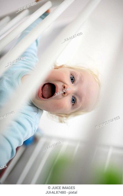 Baby yelling through railing
