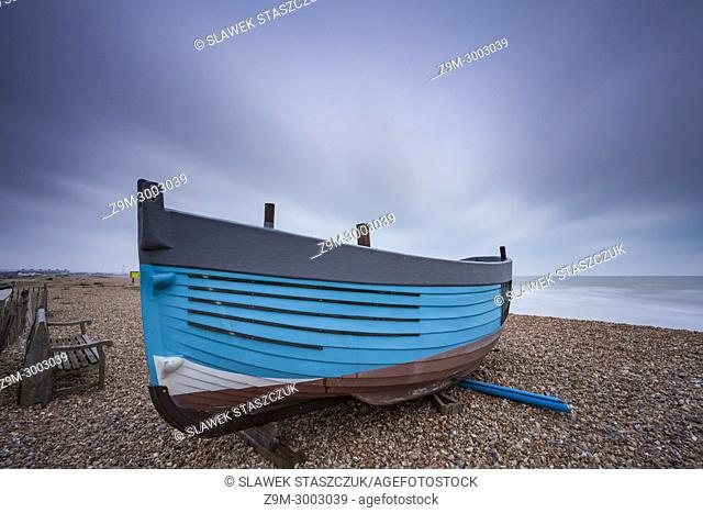 Fishing boat on the beach in Shoreham-by-Sea, West Sussex, England