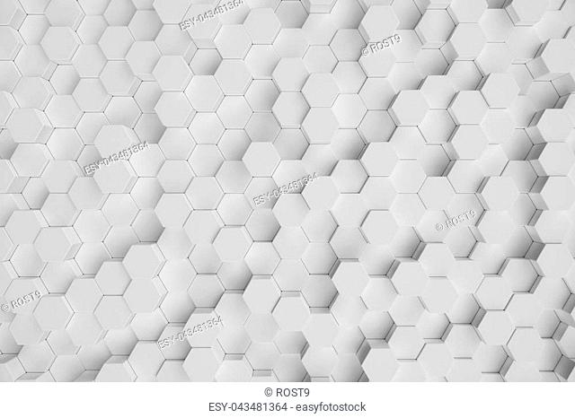 3D illustration white geometric hexagonal abstract background. Surface hexagon pattern, hexagonal honeycomb