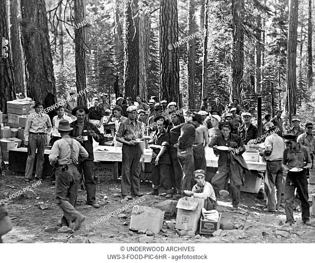 Eagle Lake, Oregon: c. 1940.The logging crew at Eagle Lake take a meal break