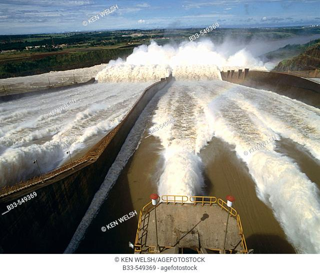 Itaipu dam spillway. Itaipu dam is the biggest hydroelectric power plant, built between Brazil and Paraguay, using Parana river water