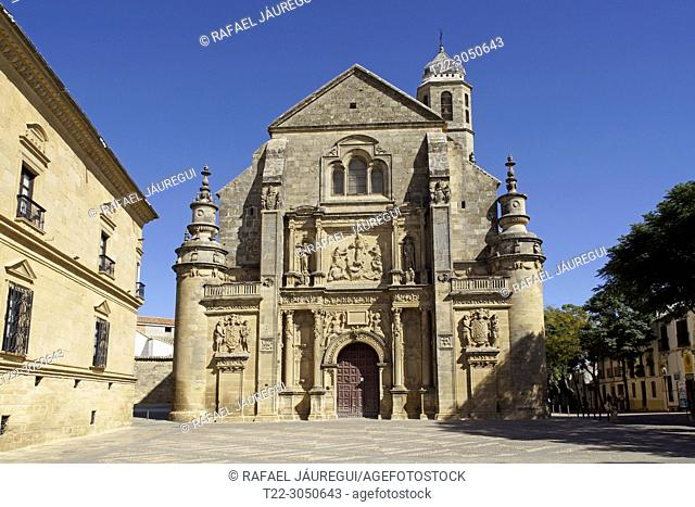 Úbeda (Jaén) Spain. Facade of the Sacred Chapel of the Savior in the town of Úbeda