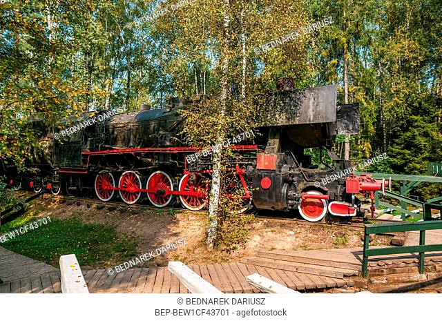 Original steam locomotive. Centre for education and regional promotion. Szymbark, village in Pomeranian Voivodeship, Poland