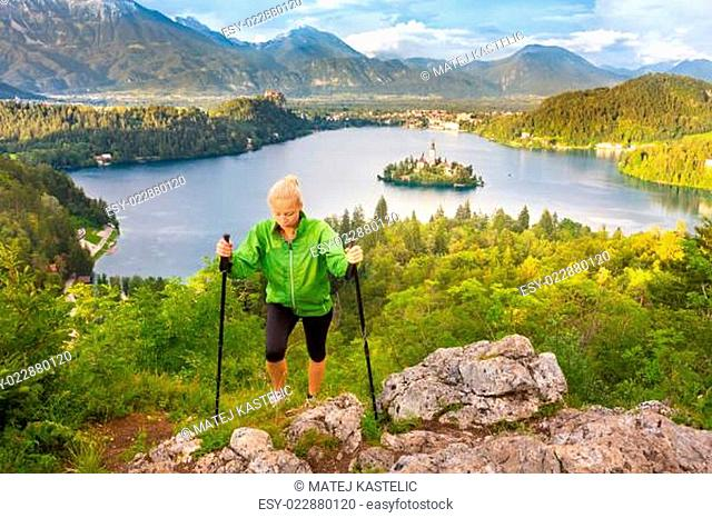 Tracking round Bled Lake in Julian Alps, Slovenia
