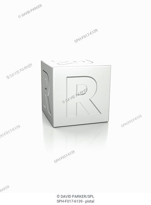 Cube with the letter R embossed